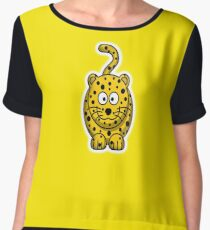 Leopard, Cartoon, Cute, Spotty, Big Cat, Yellow, CAT Women's Chiffon Top