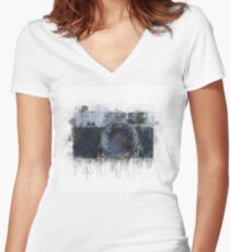 retro camera drawing - illustration / painting  1 Women's Fitted V-Neck T-Shirt