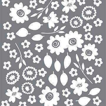 Good Cheer Floral Grey by BofGoodCheer