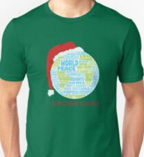 Christmas Wishes - Vision of World Peace - Earth Word Cloud T-Shirt
