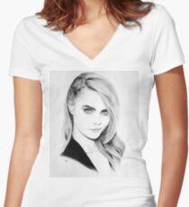 Cara Delevingne Pencil Portrait. Women's Fitted V-Neck T-Shirt