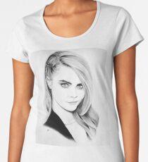 Cara Delevingne Pencil Portrait. Women's Premium T-Shirt