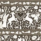 Antique Lace - Cream and Sepia - Traditional Christmas pattern by Cecca Designs by Cecca-Designs