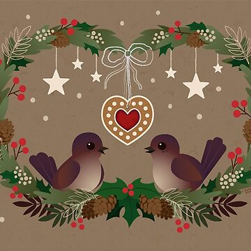 Two Birds on a Christmas Wreath by KristyKate