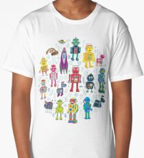 Robots in Space - grey - fun Robot pattern by Cecca Designs Long T-Shirt