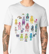 Robots in Space - grey - fun Robot pattern by Cecca Designs Men's Premium T-Shirt