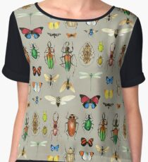 The Usual Suspects - Insects on grey - watercolour bugs pattern by Cecca Designs Chiffon Top
