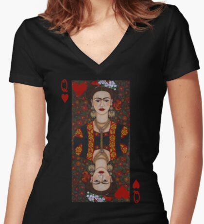 Frida Kahlo,  Queen of Hearts II Women's Fitted V-Neck T-Shirt