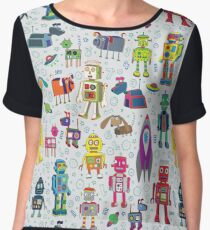 Robots in Space - grey - fun Robot pattern by Cecca Designs Chiffon Top