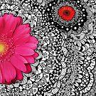 Pink Spring Flower Zentangle by julieerindesign