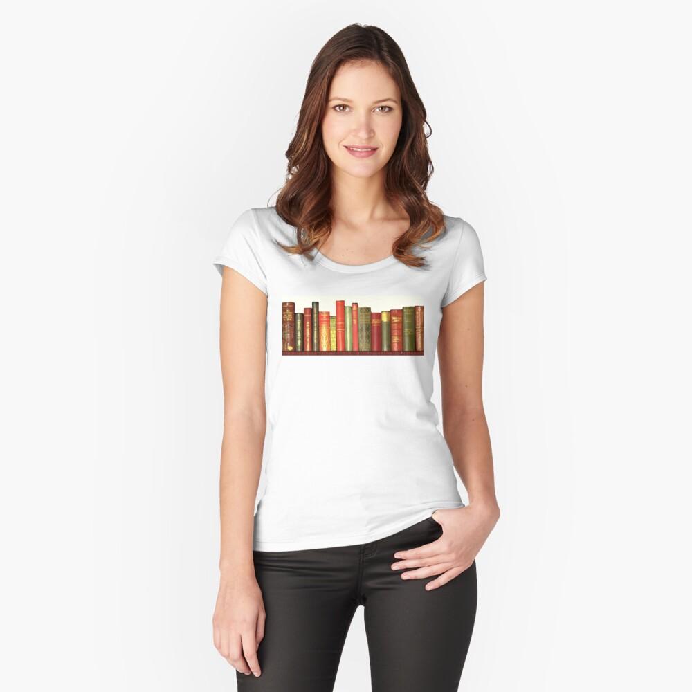 Bibliophile Vintage Bibliothek Tailliertes Rundhals-Shirt