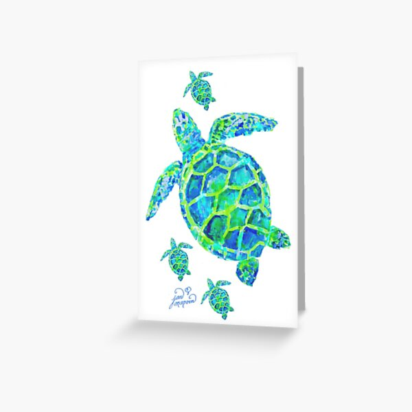 Sea Turtle with babies Greeting Card