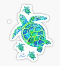 Sea Turtle with babies Sticker