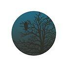 Owl in Tree Against Night Sky by Danielle Dewees