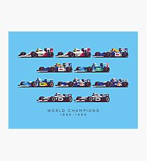 F1 World Champions 1990s - Blue Photographic Print