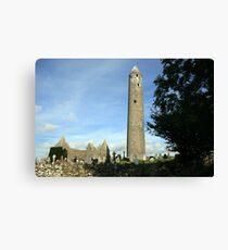 Kilmacduagh round tower 2 Canvas Print