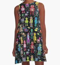 Robots in Space - black - fun pattern by Cecca Designs A-Line Dress