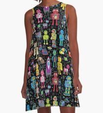 Robots in Space - black - fun pattern by Cecca Designs A-Line Dress