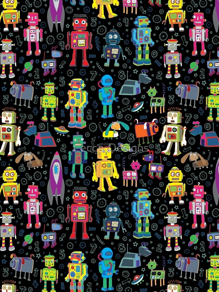 Robots in Space - black - fun pattern by Cecca Designs by Cecca-Designs
