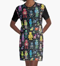 Robots in Space - black - fun pattern by Cecca Designs Graphic T-Shirt Dress