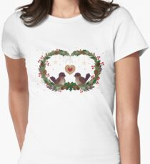 Two Birds on a Christmas Wreath Women's Fitted T-Shirt
