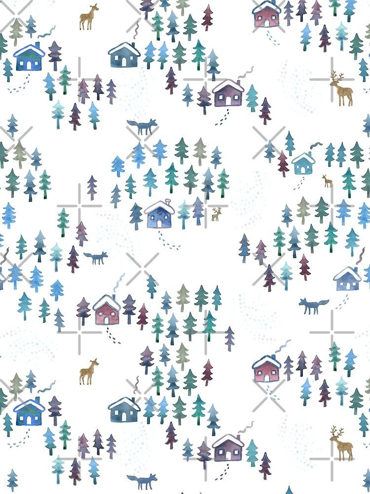 Alpine Chalets in the Snow - Original Watercolour pattern by Cecca Designs by Cecca-Designs