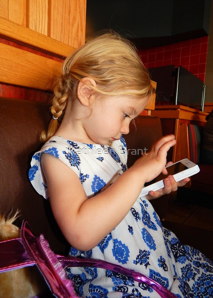 Little Girl with Phone Time by Kathleen Brant