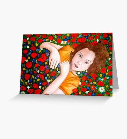 "Beautiful ""Poppy"" Girl Greeting Card"