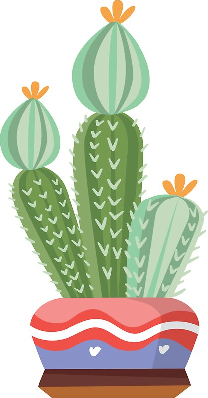Cacti sticker potted plant house plant cacti pot cactus succulent by