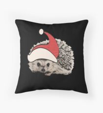 Hedgehog Christmas Santa Elf Vintage Novelty Gift Throw Pillow