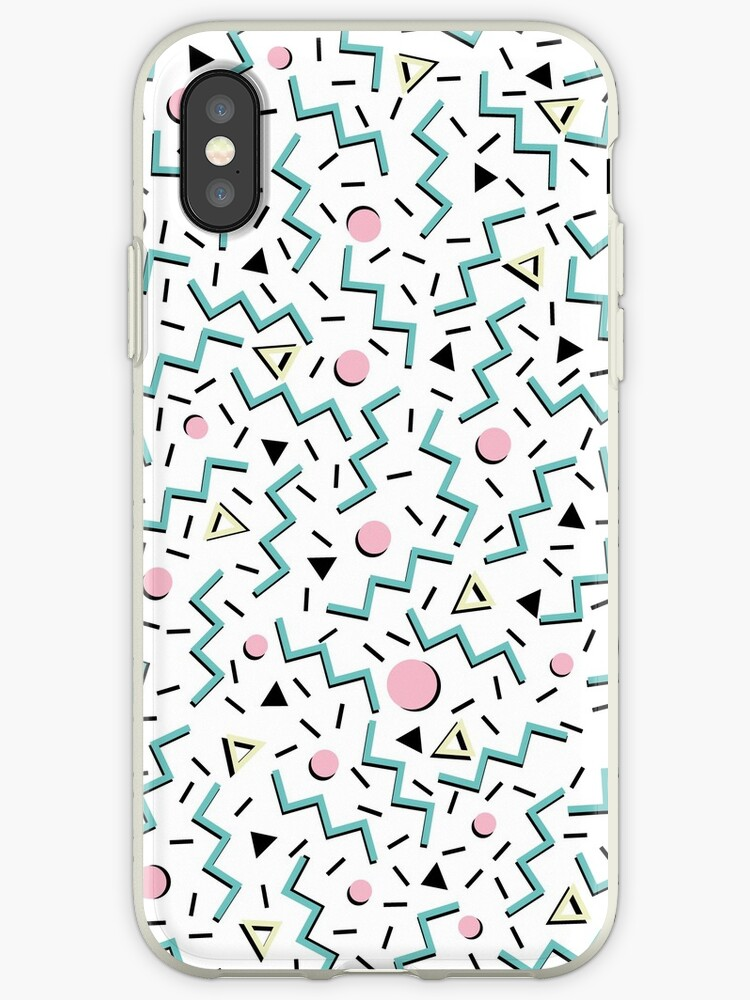 'Back to the 80's eighties, funky memphis pattern design' iPhone Case by  5mmpaper