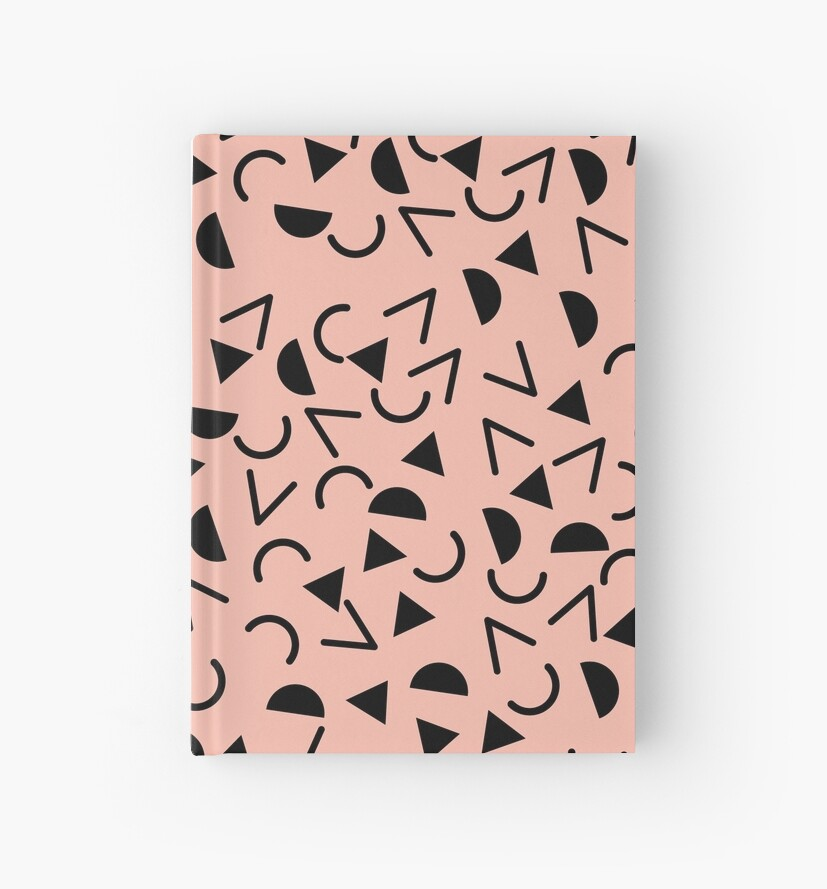 Memphis 80's Pattern Design Black and Pink by 5mmpaper