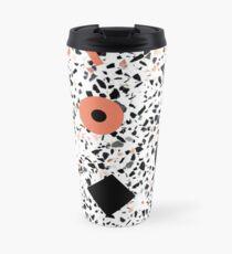 Terrazzo Stone, Stone Pattern, Memphis, Black and Orange Travel Mug