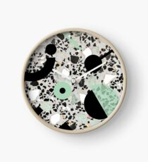 Terrazzo Stone, Stone Pattern, Memphis, Black and Green Clock