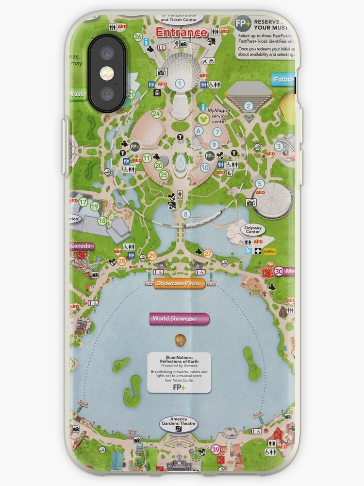 'Epcot Center Map ' iPhone Case by Rainbow Rules