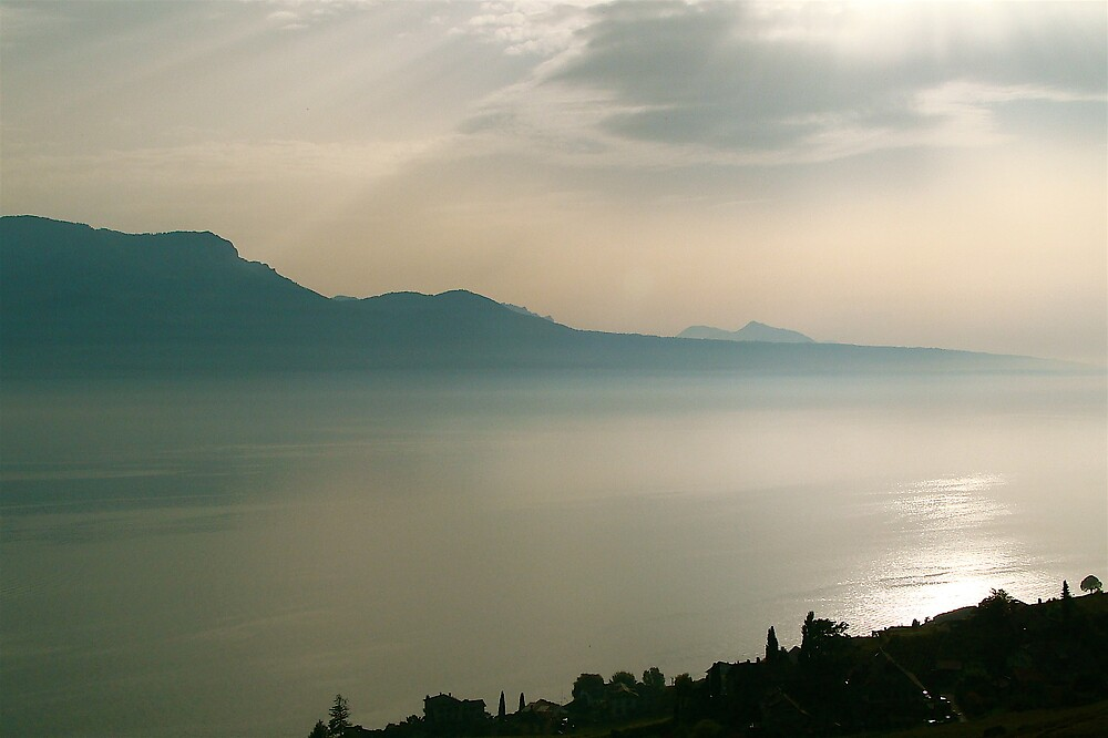 Late afternoon on a lake Leman ( Swiss ) by anisja