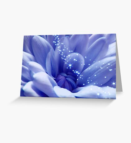 Stunning Blue  Purple Beauty With Stars Greeting Card