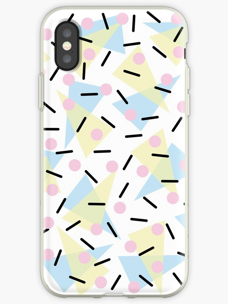'Funky Memphis Confetti Party Pattern Blue Pink Yellow ' iPhone Case by  5mmpaper