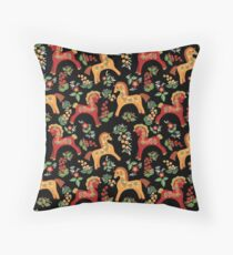Folk horses pattern  Throw Pillow