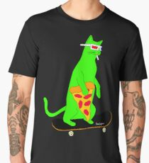 Psychedelic Skateboarding Pizza Cat Men's Premium T-Shirt