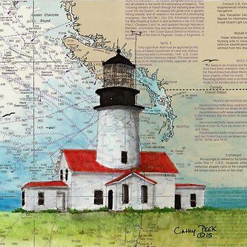 Cape Flattery Lighthouse WA Map Cathy Peek Art by cathypeek
