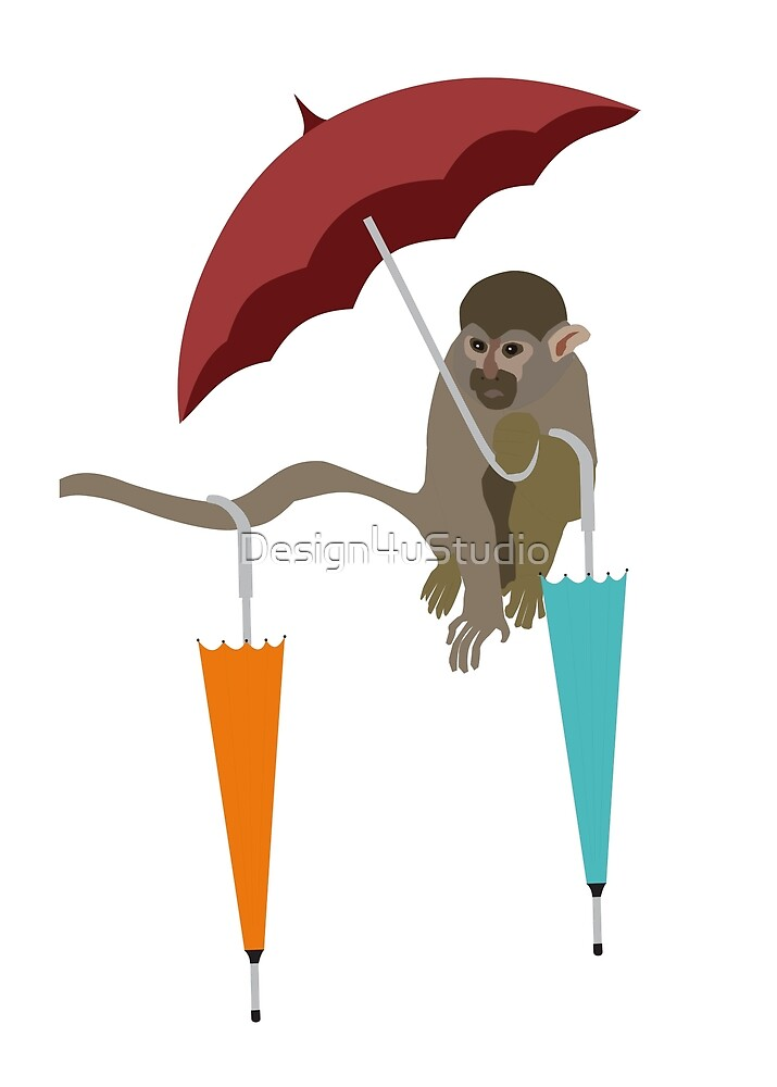 Monkey with umbrellas by Design4uStudio