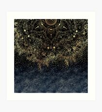 Stylish Gold floral mandala and confetti  Art Print