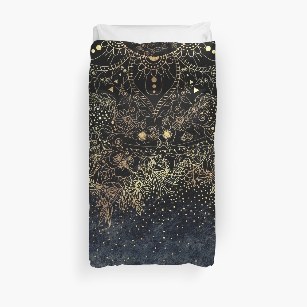 Stylish Gold floral mandala and confetti  Duvet Cover