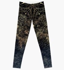 Stylish Gold floral mandala and confetti  Leggings
