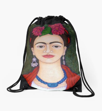 Frida Kahlo portrait with dalias  Drawstring Bag