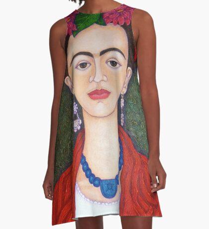 Frida Kahlo portrait with dalias  A-Line Dress