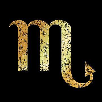 Zodiac Sign Scorpio - Sternzeichen Skorpion (Ancient Gold) by theshirtshops