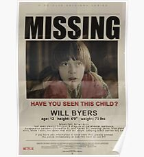 Stranger Things - Missing Will Byers Poster