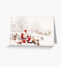 Pit stop Pup stop - Santa destresses with the welshie puppies Greeting Card